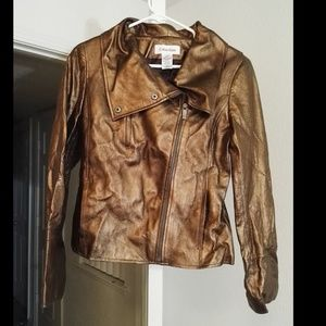 woman gold color heavy jacket, new